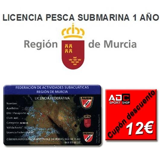 LICENCIA PESCA SUBMARINA 1 AÑO + TARJETA FEDERATIVA FASRM